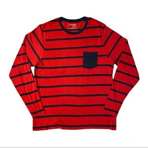 OLD NAVY Men's Red Striped Pocket Long Sleeve Tee Size M